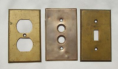 2 Antique solid brass switch plates + 1 solid brass outlet cover