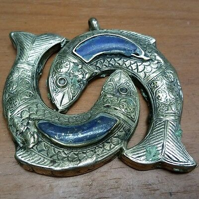 Rare Old Ancient  Medieval Silver 2Fish Lapis Stone Pendant #3