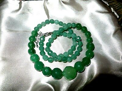 Lovely faceted raw natural green Emerald  faceted necklace