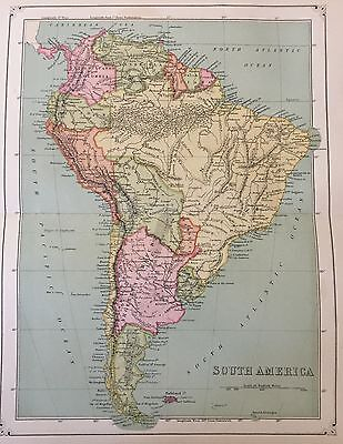 Antique 1873 Color Map of South America