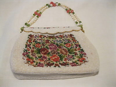 antique / vintage embroidered flowers and beading, clutch / purse