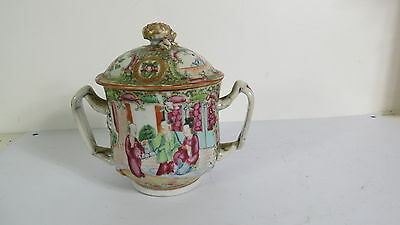 antique Chinese porcelain  Rose Medallion  Sugar  or Jam Jar  with cover