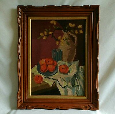 Large Completed Needlepoint Friut Flowers Carved Wood Frame 9x24.5 Behind Glass