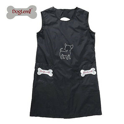 Pet Dog Cat Waterproof Grooming Apron with Pockets Nylon Black Beautician Smock