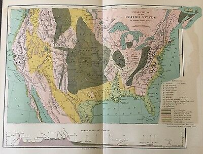 Antique 1873 Color Map of Coal Resources in the United States
