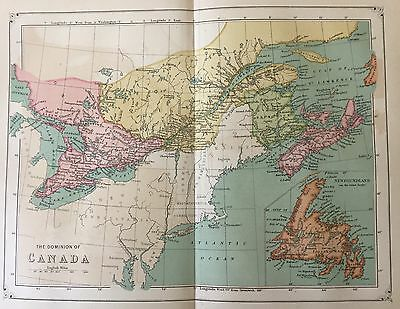 "Antique 1873 Color Map of the ""Dominion of Canada"""
