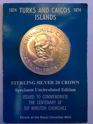 1974 Turks and Caicos Island Sterling Silver 20 Crown Coin Sir Winston Churchill