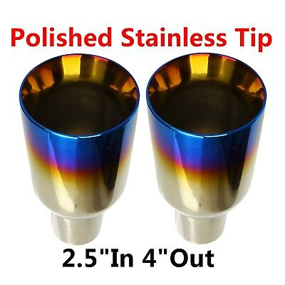 """2.5"""" Inlet 4"""" Outle Blue Burnt Exhaust Duo Layer Straight Tip Polished Stainless"""