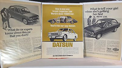 3 x 1969 DATSUN 1000 1600 ADVERTISING ADS FROM TIME & NEWSWEEK MAGAZINE