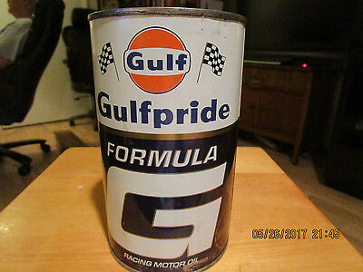 GULF GULFPRIDE MOTOR METAL Oil Can 1QT.Gulf Racing