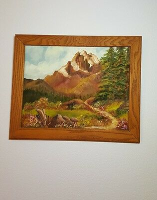 Mountain Landscape original oil painting 1981 13x16 Signed Framed Flower Meadow