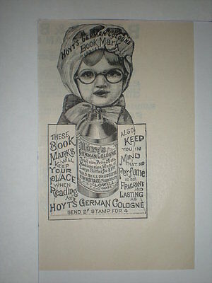 1887 Hoyts German Cologne Book Mark Ad
