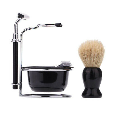4 In 1 Men Barber Salon Blades Cut Throat  Brush Shaving Beard Gift Razor Set