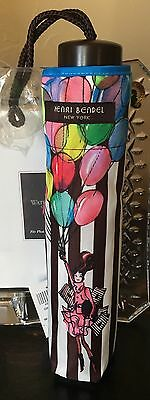 New With Tag HENRI BENDEL Packable Mini Stripe Brown Travel Umbrella Balloons