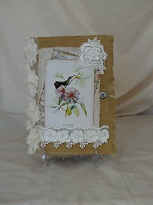 Hand made, fabric covered Vintage Hummingbird  journal