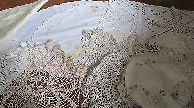 Bulk lot of vintage doilies, cream, white, crochet, round