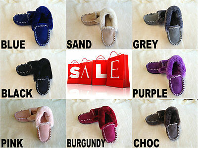 Amazing Australian Sheepskin Lambskin Womens/Mens/Ladies Slippers Moccasins DFO