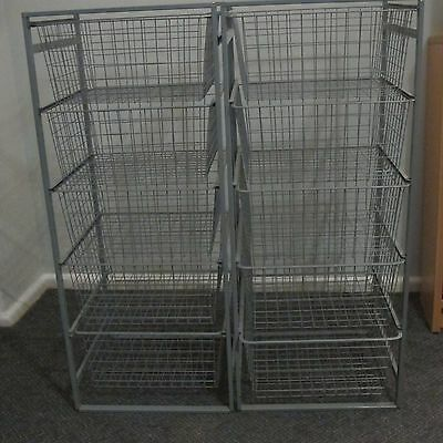 2 x ELFA SILVER METAL WIRE BASKET DRAWERS WARDROBE STORAGE SET SHELVING SYSTEM