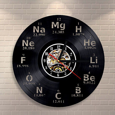 Chemical Element Periodic Table Vinyl Wall Clock Study Chemistry School Collehe