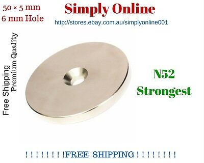 N52 50mm x 5mm Rare Earth Magnets Round Discs  6mm Hole Neodymium & 20mm / 10mm
