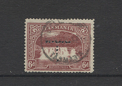 TASMANIA 1911: used 6d Pictorial (Crown/A wmk) perf T with 8x7 punctures (3469)