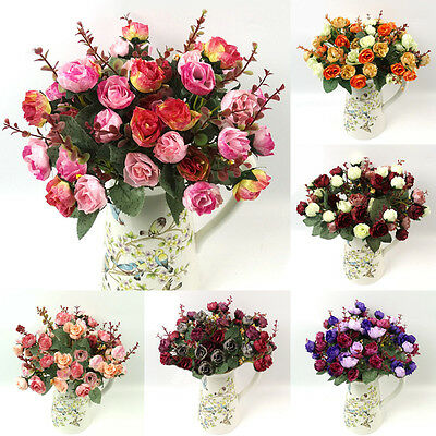 21Head 1 Bouquet Artificial Rose SILK Flower Leaf Home Wedding Party Decoration
