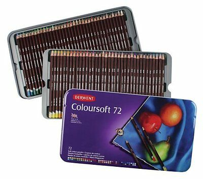 Derwent Coloursoft 72 Colouring Pencils Set Tin Case NEW