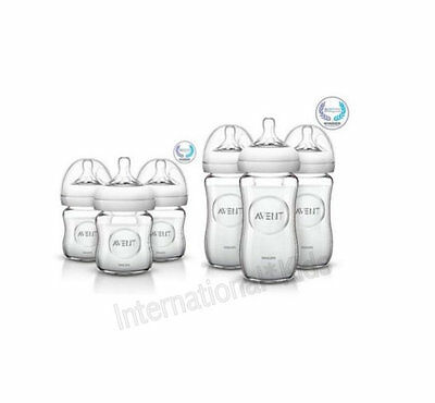 6 Philips AVENT Natural Glass Bottles 3 x 120ml + 3 x 240ml NEW