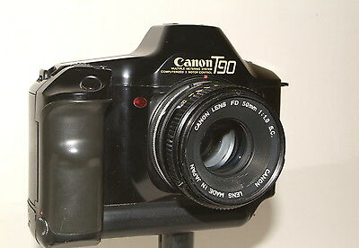 Canon T90 camera with f1.8 50mm lens