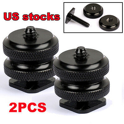 """1/4""""-20Cold Foot Screw Adapter for Camera Hot Shoe Mount Double Nut Flash Holder"""
