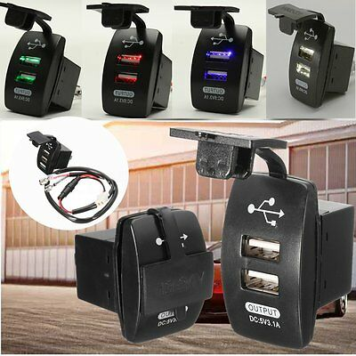 Waterproof Twin Dual Double 2 USB Port 12V Car Socket Lighter Charger Adapter