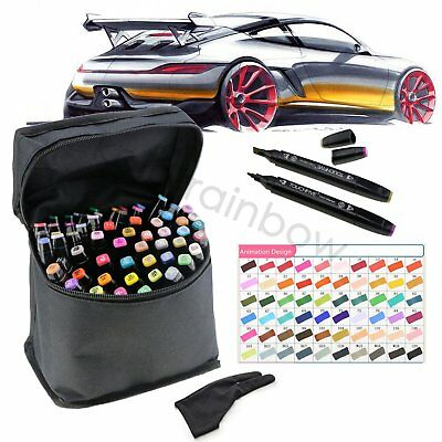 60 Colour Set Marker Pen Touch New Graphic Art Five Sketch Twin Tips Free Glove