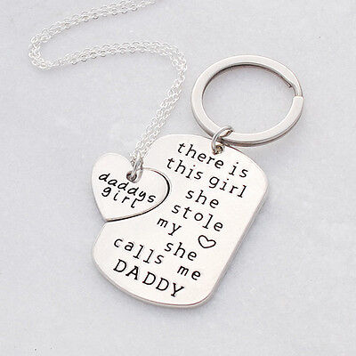 NEW Daddy's girl necklace and key ring gift set Women's by Buena Vida