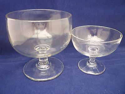 2 vintage/antique glass comports small and medium vgc