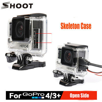 Protective Skeleton Case Side Opening Housing USB&HDMI Port for GoPro Hero 4 3+