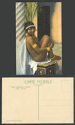 Tunisia Old Postcard Arabic Arab Young Girl Woman, Bare Breasts, Armlet Footlace