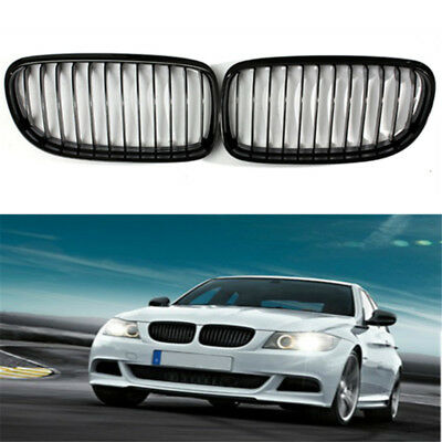 Pair ABS Gloss Black Baking Varnish Front Kidney Grille Grill For BMW E90 09-12