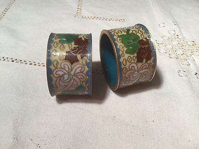 Chinese Cloisonné Napkin Rings in Floral Design  Very Collectable