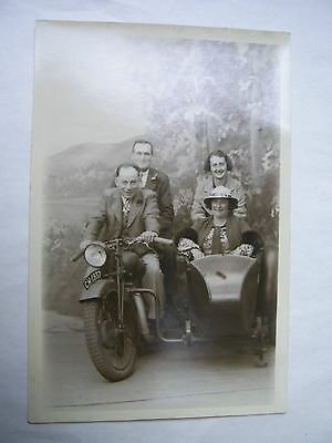 Old Photographic Postcard Motor Bike And Side Car