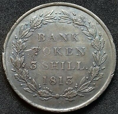 1813 Three Shillings Bank Token. George 111 British Silver Coins.