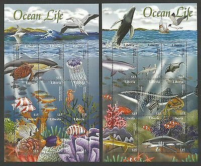 Liberia 2001 Ocean Life Marine Fish Whales Turtle Shark Shell Set 2 M/sheets Mnh