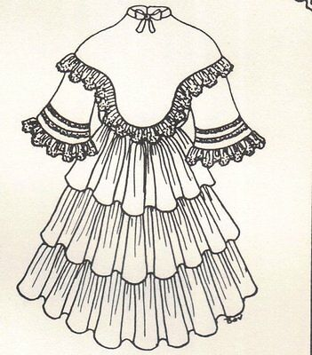 "Period DOLL DRESS PATTERN Victorian German French fits 13 14"" Little darling"