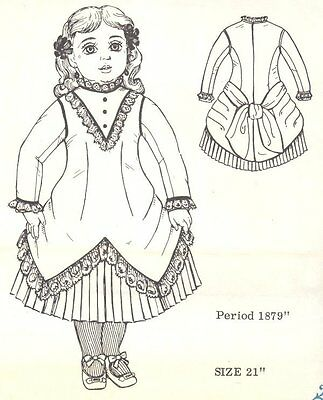 Period DOLL DRESS PATTERN Victorian German French ANTIQUE / vintage look #5020