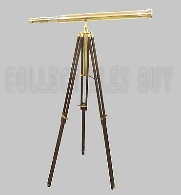 Maritime shiny brass telescope with solid wooden Brown tripod Desk Low Floor