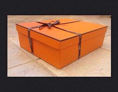 HERMES Gift Paper Orange Box 35 cm x 28 cm x 11 cm & a ribbon NEW