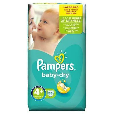 PAMPERS Baby Dry Taille 4+ - 9 a 20kg - 56 Couches
