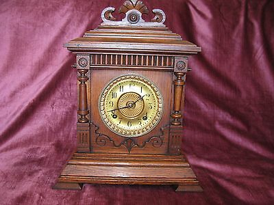 Ansonia Sharon Antique Oak Mantel Clock-Eight Day Chimes On A Gong