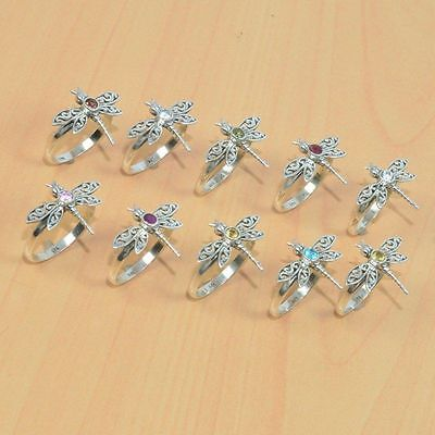 10Pc Wholesale 925 Solid Sterling Silver Natural Cut Citrine Butterfly Ring Lot
