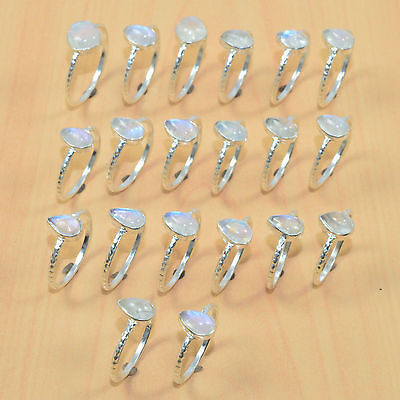 Wholesale Lot 20Pc 925 Solid Sterling Silver Natural Rainbow Moon Stone Ring