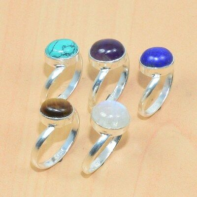 Wholesale 5Pc 925 Solid Sterling Silver Natural Amethyst & Mix Stone Ring Lot